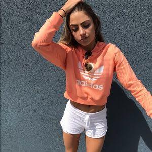 Ribbed neon adidas hoodie
